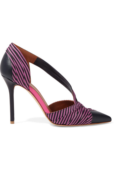 Edith 100 Striped Faille And Leather Pumps by Malone Souliers