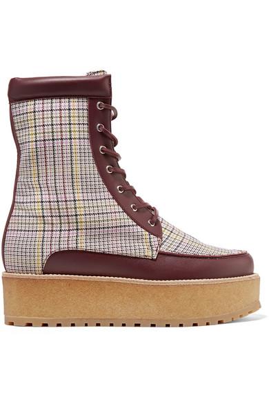 Gabriela Hearst   David Ankle mit Boots aus karierter Wolle mit Ankle Lederbesatz und Plateau 220183