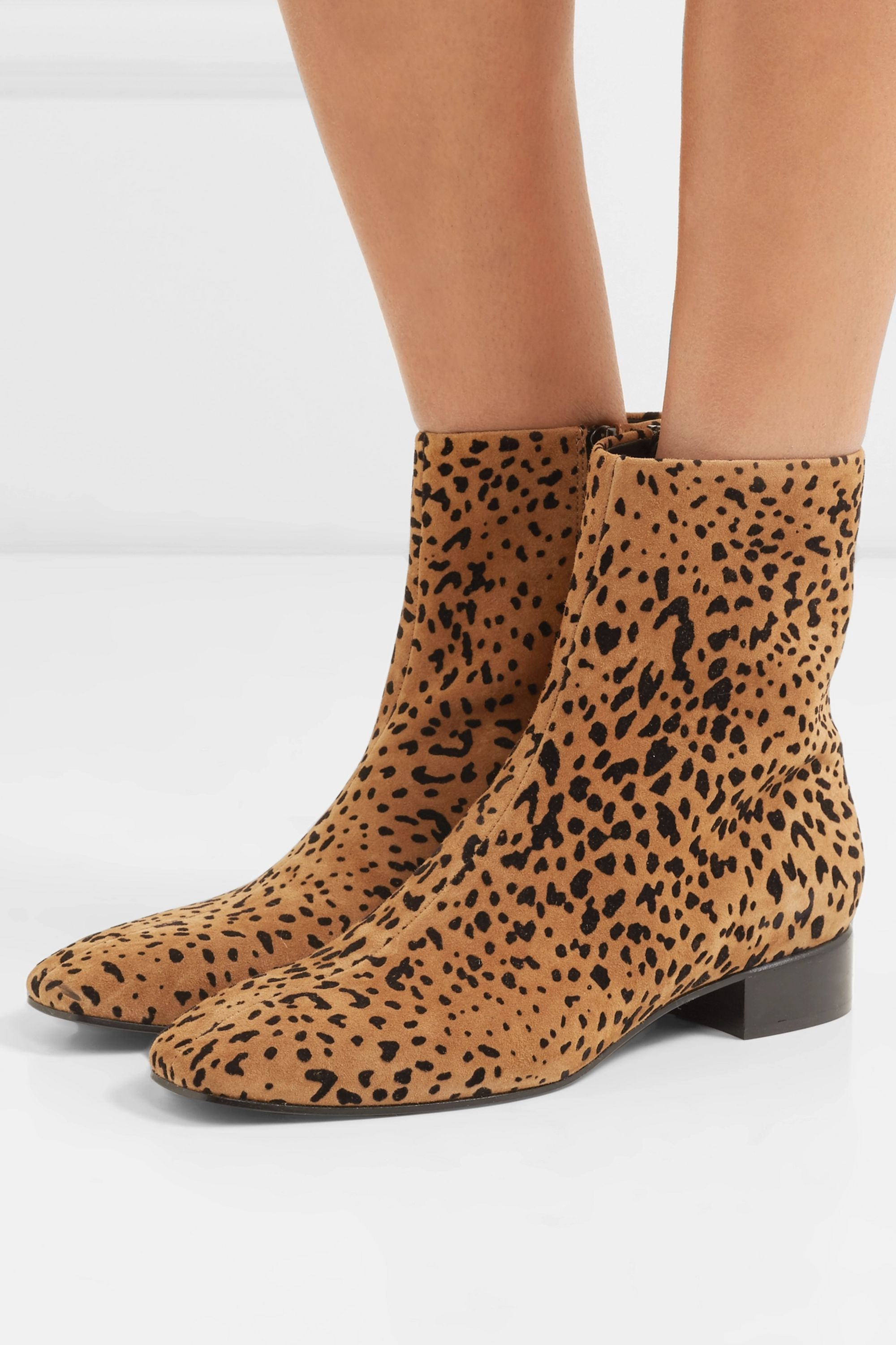 Aslen animal-print suede ankle boots