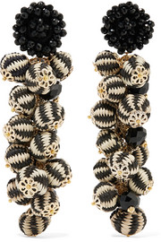 Cluster bead, silk and gold-tone earrings
