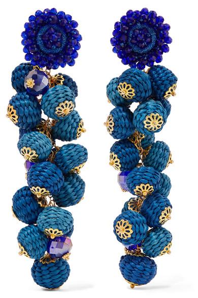 BIBI MARINI Cluster Bead, Silk And Gold-Tone Earrings in Blue
