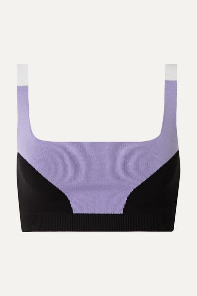 NAGNATA Color-Block Technical-Knit Stretch-Cotton Sports Bra in Lilac