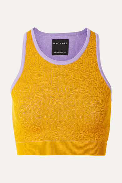 NAGNATA Cropped Technical-Knit Stretch-Cotton Top in Mustard