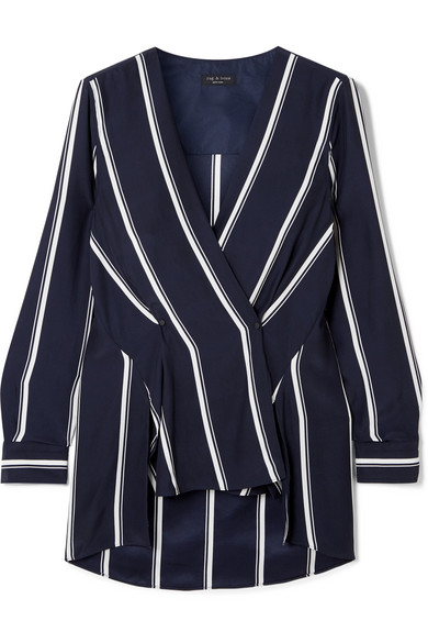 Debbie Wrap-Effect Striped Silk Crepe De Chine Top in Midnight Blue