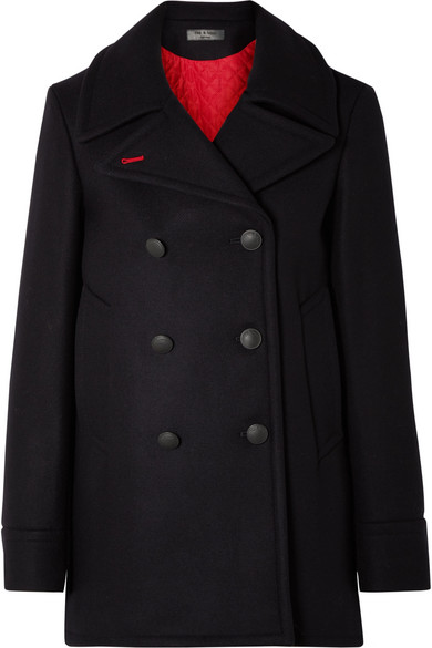 Nella Double-Breasted Wool Pea Coat in Navy