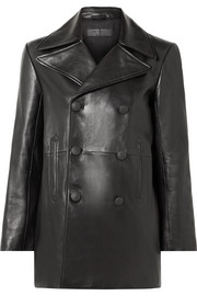 Nella double-breasted leather coat