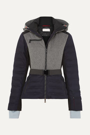 Kat color-block quilted merino wool-blend ski jacket