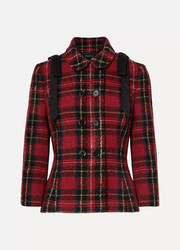 Bow-embellished tartan tweed jacket