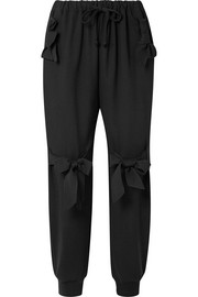 Bow-embellished stretch-jersey track pants