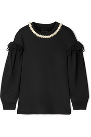 Simone Rocha Embellished ruffled stretch-jersey top