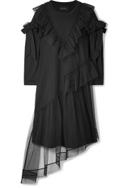 Simone Rocha Ruffled tulle-trimmed cotton-jersey dress