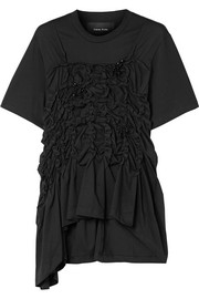Simone Rocha Embellished ruched cotton-jersey top