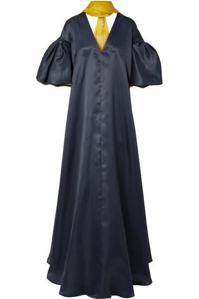 ROKSANDA Farola V-Neck Draped Silk Organza Dress in Midnight Blue