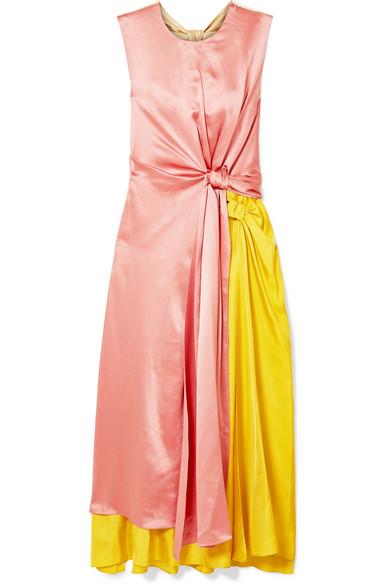 ROKSANDA Nyimi Two-Tone Silk-Georgette Midi Dress in Pink