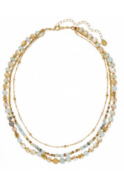 Gold-plated, amazonite and bead necklace