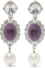 Miu Miu Silver-tone multi-stone clip earrings