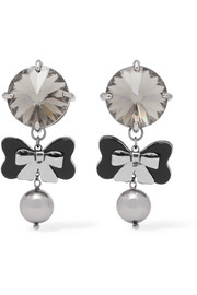 Miu Miu Silver-tone, acetate and crystal clip earrings