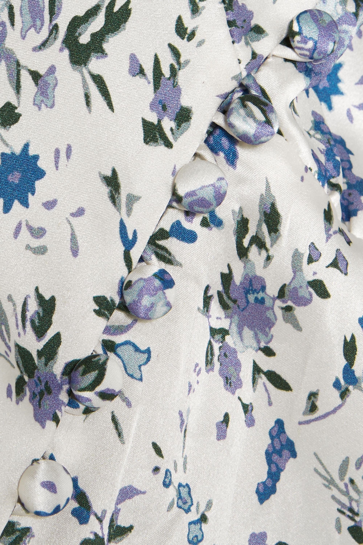 Les Rêveries Robe longue en satin de soie à imprimé fleuri