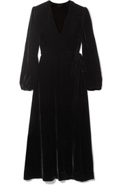 Les Rêveries Velvet wrap midi dress