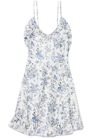 LES RÊVERIES Ruffled Floral-Print Silk-Satin Mini Dress in White