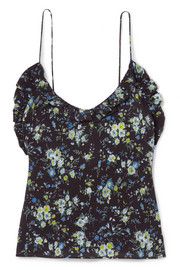 Les Rêveries Ruffled floral-print silk-crepe camisole