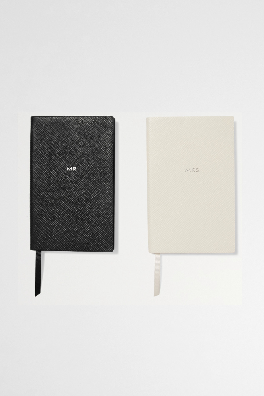 Smythson Set of two Panama Mr & Mrs textured-leather notebooks