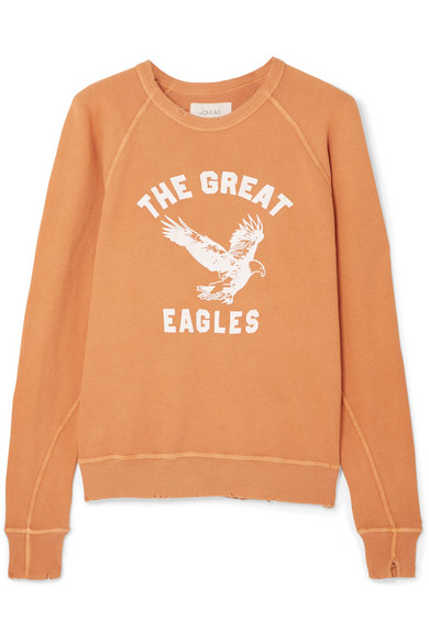 The Great THE COLLEGE DISTRESSED PRINTED COTTON-JERSEY SWEATSHIRT