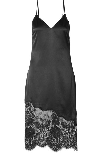 Cami Nyc THE SELENA LACE-TRIMMED SILK-CHARMEUSE DRESS