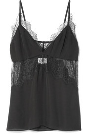 The Kinley lace-trimmed silk-charmeuse camisole