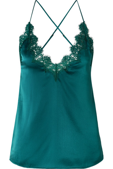 Cami NYC - The Everly Lace-trimmed Silk-charmeuse Camisole - Petrol