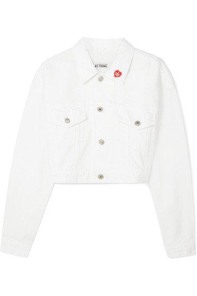 + Re/Done The Hollywood Cropped Embellished Denim Jacket in White