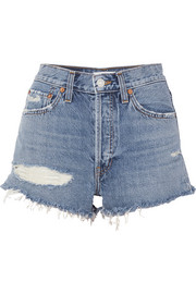 + RE/DONE The Malibu distressed denim shorts