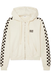 + RE/DONE The Malibu printed cotton-terry hooded top