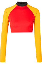 + RE/DONE The Malibu cropped color-block rash guard