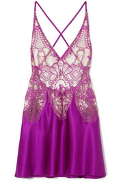 Coup de Foudre embroidered tulle and silk-blend satin chemise