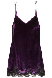 Chantilly lace-trimmed velvet chemise