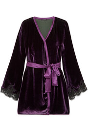 Chantilly lace-trimmed velvet robe
