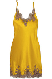 Hôtel Particulier Chantilly lace-trimmed silk-blend satin chemise