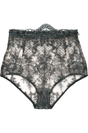 La Rêveuse satin-trimmed embroidered stretch-tulle briefs