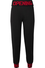 Intarsia-trimmed cotton-jersey track pants