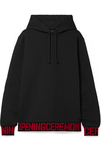 Oversized Intarsia Trimmed Cotton Jersey Hooded Top by Opening Ceremony