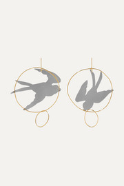 Gold and silver-tone earrings