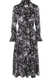Jacqueline pussy-bow floral-print silk-satin dress