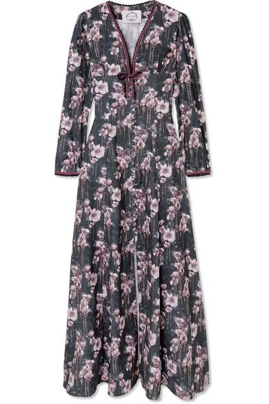 EVI GRINTELA Irving Floral-Print Cotton-Corduroy Maxi Dress in Black