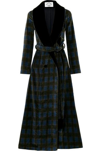 EVI GRINTELA Yves Velvet-Trimmed Cotton-Corduroy Coat in Green