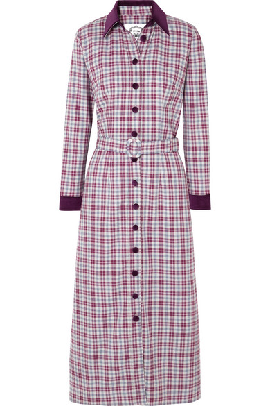 EVI GRINTELA Jerry Velvet-Trimmed Checked Cotton-Twill Dress in Purple