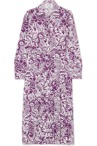 Evi Grintela - Gilda Printed Silk Crepe De Chine Dress - Purple