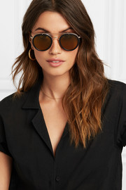 Nomad round-frame textured-leather and gold-tone sunglasses