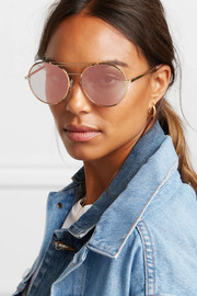 Vittoria round-frame gold-tone mirrored sunglasses