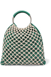 HEREU Xarxa macramé and leather tote